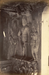 Sculptured figures in south corner of interior of Brahmanical Cave Temple, Aihole, Bijapur District